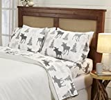 Great Bay Home 4-Piece Lodge Printed Ultra-Soft Microfiber Sheet Set. Beautiful Patterns Drawn from Nature, Comfortable, All-Season Bed Sheets. (Queen, Moose)