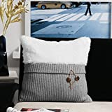 Valery Madelyn Grey and White Decorative Throw Pillow Covers 18 x18 with Cable Knitting for Spring and Summer Home Decorations