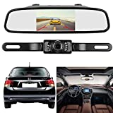 Emmako Backup Camera and 4.3'' Mirror Monitor Kit For Car/RV/Pickup Truck/Trailer/Van IP68 Waterproof Night Vision Rear View System Optional Reversing/Driving Use With Guide Lines