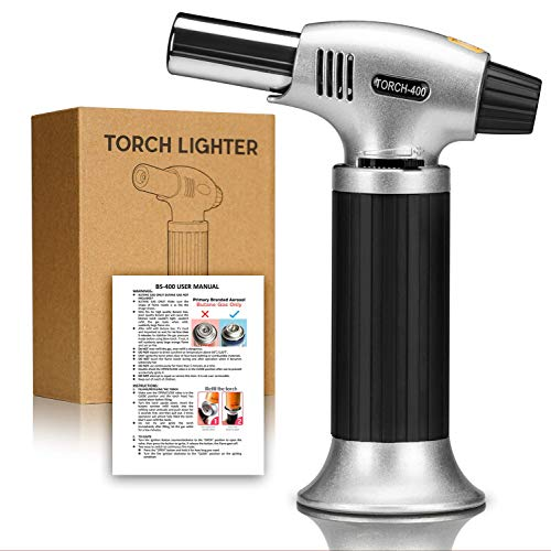 GiBot Blow Torch Lighter Kitchen Butane Culinary Torch Chef Cooking Torch Refillable Adjustable Flame Lighter with Safety Lock for DIY, Creme, Brulee, BBQ and Baking, Butane Gas Not Included,Black