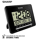 Sharp Atomic Desktop Clock - Auto Set Digital Alarm Clock - Atomic Accuracy - Easy to Read Screen with Time/Date/Temperature Display- Perfect for Nightstand or Desk