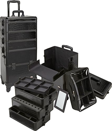 Seya 4 in 1 Rolling Makeup Cosmetic Case w/ 4 Wheels and Adjustable Dividers - Black Gator & Black Trim