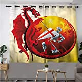 Fbdace Dragon Thermal Insulating Blackout Curtains Saint George Fire Spit Insulated with Grommet Curtains for Bedroom W 55' XL 72'