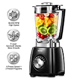 NYYIN NY-8668MJA Professional, 1450W Smoothie 72 Oz BPA-Free Pitcher, 58000 RPM High Speed Blender with 6 Layer Sawtooth Stainless Steel Blades fo, Large, Black
