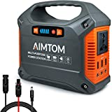 AIMTOM 155Wh Portable Power Station, Solar Rechargeable Lithium Battery Backup Power Supply with 110V/100W (Peak 150W) AC Inverter Outlet, USB Ports, DC Output for Outdoors Camping Travel Emergency