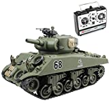 Fisca Remote Control Tank, 2.4Ghz 15CH 1/20 Sherman M4A3 Main Battle RC Tank That Shoot Airsoft for Boys Age 10 11 12-16 Year Old