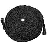 soled Expandable Garden Hose, 75ft Strongest Expanding Garden Hose on The Market with Triple Layer Latex Core & Latest Improved Extra Strength Fabric Protection for All Your Watering Needs(Black)