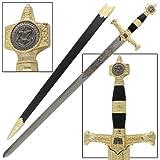 King Solomon Medieval Crusader Replica Longsword With Scabbard Black
