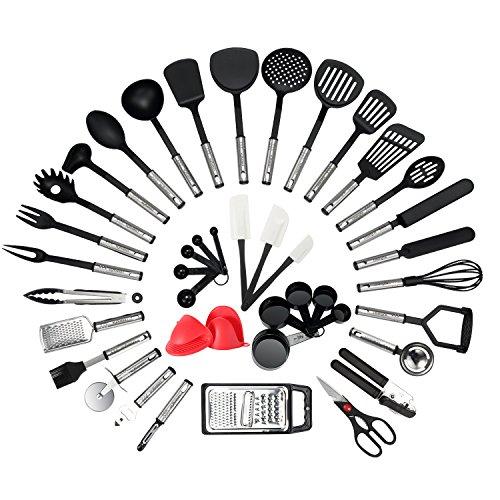 NEXGADGET Kitchen Utensil Set - 42-Piece Cooking Utensils - Nylon and Stainless Steel Utensil set - Nonstick Kitchen Utensils Spatula Set - Complete Cooking Tool set - Best Kitchen Gadgets for Gift