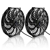 (Pack of 2) 12' Electric Radiator Cooling Fan Assembly Kit 1550 CFM Universal Slim Engine Fan Mounting Kit 12V 80W(Diameter 11.73' Depth 2.36')