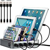 Simicore Smart Charging Station Dock & Organizer for Smartphones, Tablets & Other Gadgets - 4-Port Compact Multiple USB Charger & Phone Docking Station with Charging Status Indicator (Space Gray)