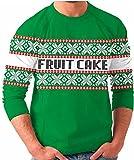 Fruit Cake Snow Flake Holiday Print Tacky Green Ugly Christmas Sweater (Adult Small)