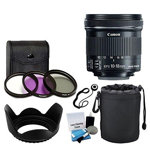 Canon-EF-S-10-18mm-f45-56-is-STM-Lens-for-DSLR-Cameras-3-Piece-Filter-Kit-Soft-Lens-Pouch-Lens-Hood-5-Piece-Cleaning-Kit-Lens-Cap-Holder-Complete-Lens-Accessory-Bundle