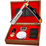 STRAIGHT RAZOR KIT ~ Amazing. Everything You Need in One Box - Cutthroat Shaving SHARP Edge Stainless Steel Blade + Leather Strop, Soap, Badger Friendly Brush Set, Balanced Wood Handle, Gift For Men