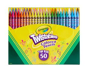 Crayola Twistables Colored Pencils Coloring Set, Kids Indoor Activities At Home, Gift Age 3+ – 50 Count