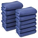 Sure-Max 12 Moving & Packing Blankets - Deluxe Pro - 80' x 72' (40 lb/dz Weight) - Professional Quilted Shipping Furniture Pads Royal Blue