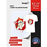 Koala Paper 28 Sheets Light T-shirt Transfer for White or Light Color Fabric 8.5''X11''Compatible with Inkjet Printer