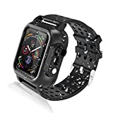 Realproof Waterproof Apple Watch Case Series 4 44mm with Premium Soft Silicone Band, Dropproof Shockproof Impact Resistant Rugged Protective Apple Watch Case Bulit-in Screen Protector