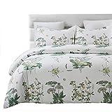 Vaulia Lightweight Microfiber Duvet Cover Set, Floral Printed Pattern Design - Queen, White/Green Color