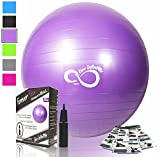 Live Infinitely Exercise Ball (55cm-95cm) Extra Thick Professional Grade Balance & Stability Ball- Anti Burst Tested Supports 2200lbs- Includes Hand Pump & Workout Guide Access Purple 65cm