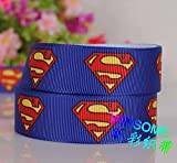 "10yards 7/8""22mm superman logo ribbon printed avenger Grosgrain Ribbon"