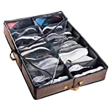 ACMETOP Extra-Large Under Bed Shoe Storage Organizer, Built-in Structure & Durable Materials, Underbed Storage Solution for Men's Size 13 Sneaker & Women's 6'' High-Heels (12 Cell, Brown)