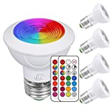 iLC LED Light Bulbs Color Changing E26 Screw 45°, 12 Colors 3W Dimmable Warm White 2700K RGB LED Spot Light Bulb with Remote Control, 20 Watt Equivalent (Pack of 4)