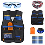 Junpro Tactical Vest Kit for Nerf Guns N-Strike Elite Series with Refill Darts, Dart Pouch, Reload Clips, Tactical Mask, Wrist Band and Protective Glasses for Birthday Party, Christmas etc