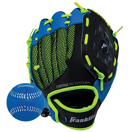 Franklin Sports Teeball Glove - Left and Right Handed Youth Fielding Glove - Neo-Grip - Synthetic Leather Baseball Glove - 9.0 Inch Right Hand Throw - Ready To Play Glove - Blue