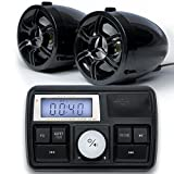 GoldenHawk 3' Waterproof Bluetooth Motorcycle Stereo Speakers 7/8 - 1 in. Handlebar Mount MP3 Music Player Sound Audio Amplifier System Scooter ATV UTV w/ AUX IN, FM Radio, USB, SD Card, 12V