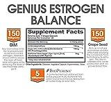 Genius Estrogen Balance - DIM Supplement w/Grape Seed Extract, Dual Estrogen Blocker for Men & Hormone Balance for Women - Aromatase Inhibitor - Cortisol Manager & Thyroid Support, 30 Veggie Pills