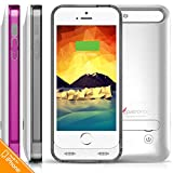 iPhone 5S Battery Case, iPhone 5 Battery Case, Alpatronix [BX120 - MFi Apple Certified] 2400mAh External iPhone 5s/5 Charger Case Removable Rechargeable Protective iPhone 5S Charging Case [Ultra Slim Portable iPhone 5 Charging Case / Full Compatible Support with iOS 9+ & Apple Pay / iPhone 5S Extended Battery Case / Lightning Connector Output / No Signal Reduction / Fits all colors for iPhone5S & iPhone5 for Juice Bank & Power Pack] - (Silver with 1 Extra Purple Bumper)