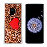 Luxlady Samsung Galaxy S9 Clear case Soft TPU Rubber Silicone IMAGE ID: 32488405 diet healthcare concept Brown raw flax seeds linseed as natural backgrou