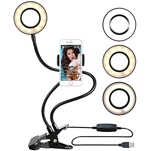 Ring Light with Cell Phone Holder for Live Stream, Dimmable [3-Light Mode][9-Level Brightness] Clamp on Gooseneck Mount with Selfie Ring Light for Youtube, Facebook, iphone 7,6/plus,Samsung,HTC,HUAWEI