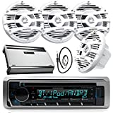 New Kenwood Marine Bluetooth CD MP3 USB AUX iPod iPhone Radio Stereo Player With 4 X 6.5' Inch Kenwood Marine Audio Speakers 4 Channel 360 Watts Marine Amplifier And Enrock Marine 45' Antenna - Complete Marine Outdoor Audio Package (White)
