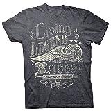 50th Birthday Gift Shirt - Living Legend 1969 Legends Never Die - Dk. Heather-XL