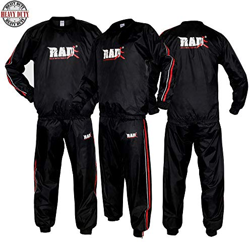 RAD Heavy Duty Sweat Suit Sauna Exercise Gym Suit Fitness, Weight Loss, AntiRip (Red, 6XL)