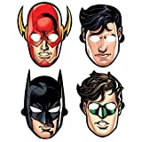 """Adventure Filled Justice League Birthday Party Paper Masks Favours, Multi Colored, Paper, 8 3/5"""" x 9 7/10"""", 8-Piece"""