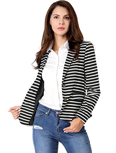 Allegra K Women's Notched Lapel Pocket Button Closure Striped Blazer 17 Fashion Online Shop gifts for her gifts for him womens full figure