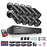ANNKE Home Security Camera System 8 Channel 1080P Lite DVR with 1TB HDD and (8) 1080P HD Outdoor IP66 Weatherproof CCTV Cameras, Smart Playback, Instant Email Alert with Images