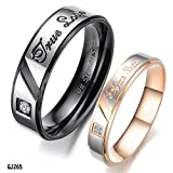 """Fate Love Mens Womens Romantic """"True Love"""" Stainless Steel Couples Ring Wedding Engagement Rings Set"""