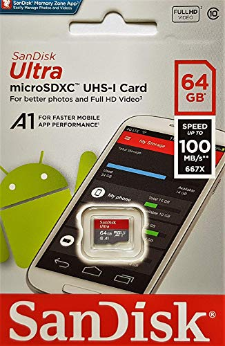 51ekBghfunL - SanDisk Ultra 64 GB microSDXC Memory Card + SD Adapter with A1 App Performance Up to 100 MB/s, Class 10, U1