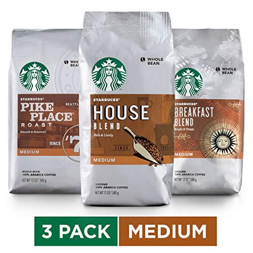 Starbucks Medium Roast Whole Bean Coffee Variety Pack, Three 12-oz. Bags