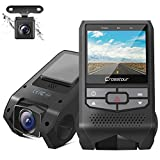 Crosstour Dual Dash Cam Front and Rear FHD 1080P Mini In Car Camera with Parking Monitoring,G-sensor,WDR,Night Vision, Motion Detection, Loop Recording, Screen Rotation (CR600)