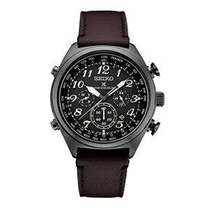Seiko Men's Prospex Radio Sync Solar Brown Leather Strap Watch