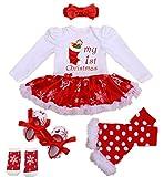 WINMI Baby Girls Newborn 1st Christmas Tutu Onesie Outfit Party Dress Sets 4PCs (M)