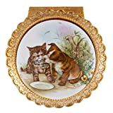 Tabby Kitten and Puppy Dog Goldstone Round Shaped Metal Music Box Plays Somewhere Out There