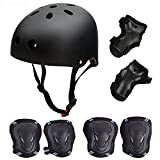 Skateboard / Skate Protection Pads Set with Helmet--SymbolLife Helmet with 6pcs Elbow Knee Wrist Pads for Kids Youths BMX/Scooter/Cycling/Rollerblading for Head M (52-57cm) Black
