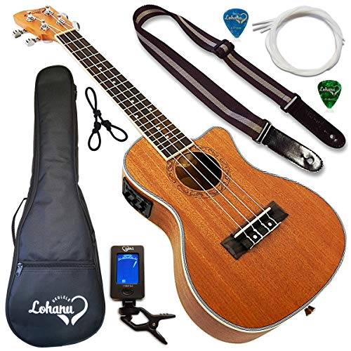 Ukulele from Lohanu Cutaway Electric With 3 Band EQ & Pick Up With All Accessories Included! (Concert Size)