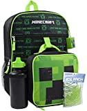 Minecraft Creeper 5 Piece Backpack Set Lunch Box Water Bottle Ice Pack Squishy